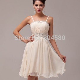 Stock Spaghetti straps Formal Gowns Cocktail Party Dresses Short Prom Ball Chiffon dress CL6017