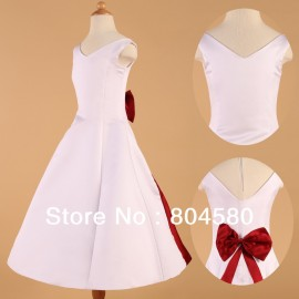 Satin White Flower Girl Dress Red bow princess dresses Wedding Pageant birthday Party Gown CL4835