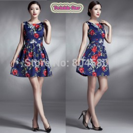 Spring Autumn Runway Vintage Flower Prints Dress Women Elegant Retro Party dresses 50s 60s Short Prom Evening Gown CL6296
