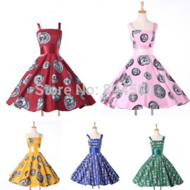 Cheap Women Casual Pattern Print dresses Short Ball Retro Vintage Rockability Swing Evening Party Prom dress CL6293