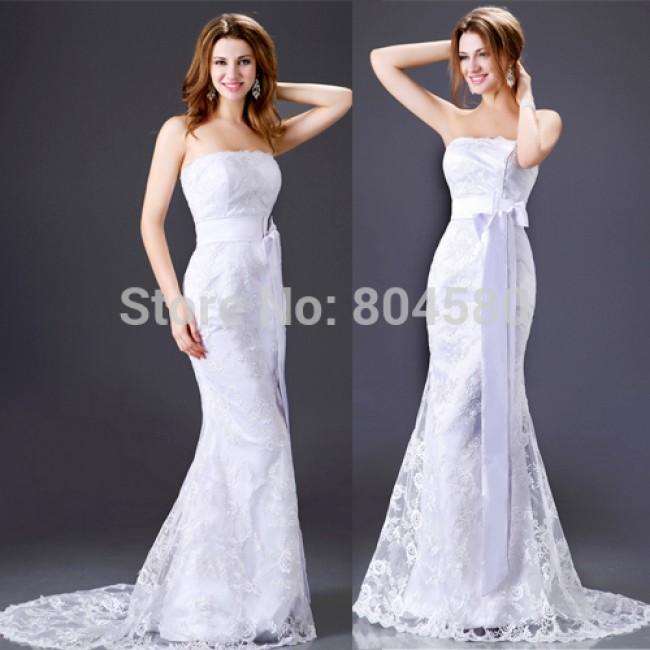 Design Sheath Bodycon Bandage dress Strapless Beach Wedding Dresses Gown Lace Applique Party dresses Long  CL2527