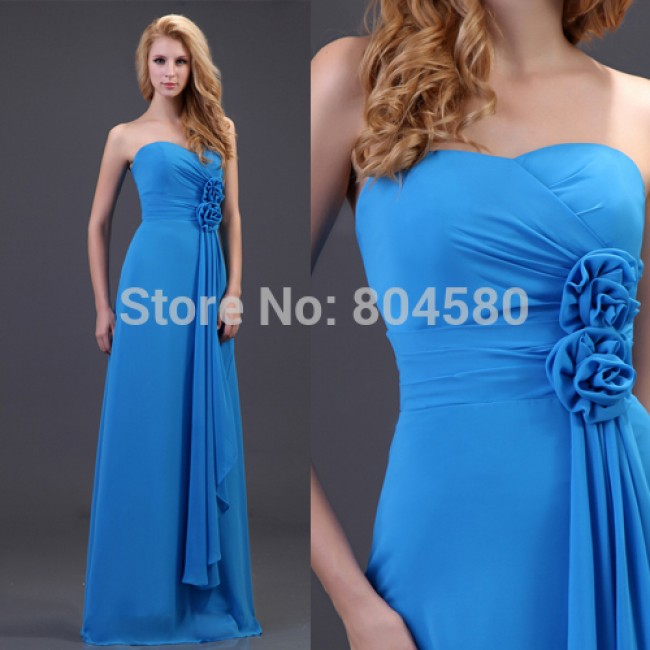 Fashion Women Strapless Chiffon Evening Dress Long Celebrity dresses Formal Party Prom Gown CL3420