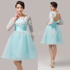 Organza Open Back Ball Gown Formal Party Dresses Short Embroidery Women Cocktail dress Long Sleeve Prom Gown CL6128