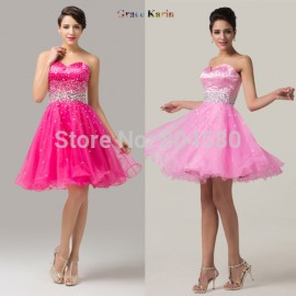 Sexy Organza Ball Gown Sweetheart Crystal Beaded Pink Women Winter Short Cocktail Dresses Homecoming Party dress CL6145