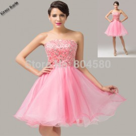 Sexy Strapless Organza Beading Women Prom Gown Formal Party Homecoming dresses Ball Banquet Evening dress Short CL6138