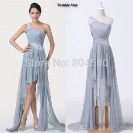 One Shoulder Chiffon Special Occasion Prom dresses Women Summer Beach Cocktail Party Gown Dress High-Low Design CL6242