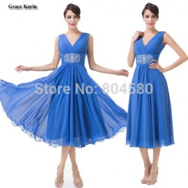 Sexy Fashion Deep V Neck Mid-Calf Chiffon Prom Party Dress Short Cocktail dresses Summer Winter Homecoming Gown CL6269
