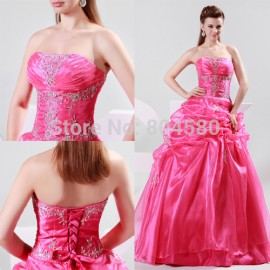 2015 New Free shipping Grace Karin Red Princess Ball Gown Long Wedding Dress Brides Gown Dress Size 6 8 10 12 14 16 CL4482