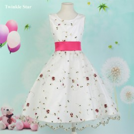 2015 New Sleeveless White Flower Girl Dresses Baby Girl Party Dress Princess Kid Pageant Gown Crew Neck Cloth for Girls  7553