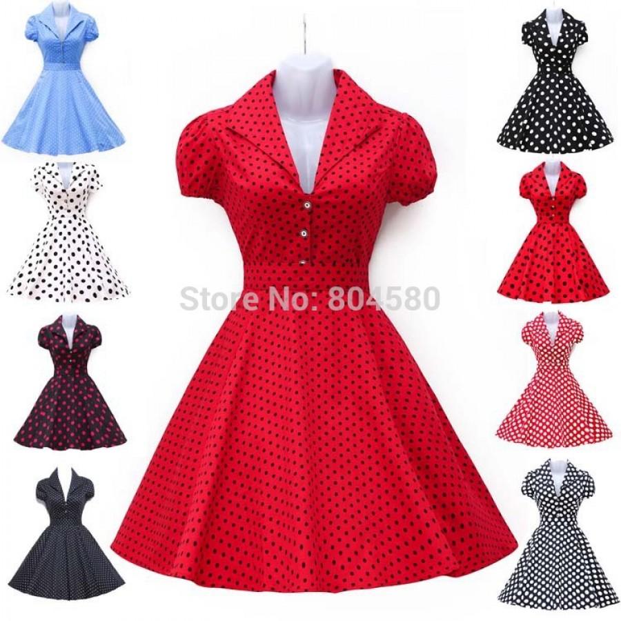 2015 New Spring Summer Short Sleeve Women Vintage Dress 50s