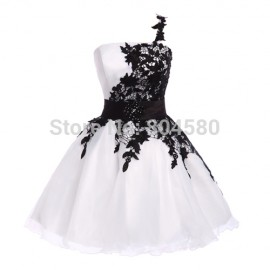 2015 New Summer Women One Shoulder Short Cocktail dress White Homecoming dresses Sleeveless Formal Party Ball Gowns CL4288