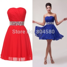 2015 New! sexy Sweetheart Knee Length Chiffon Prom Dresses Short Cocktail party Dress CL4792