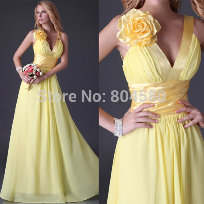 Best Selling Stock V-neck Long Party Gown Women Prom Dress Formal Bridesmaid dresses  Chiffon CL3462