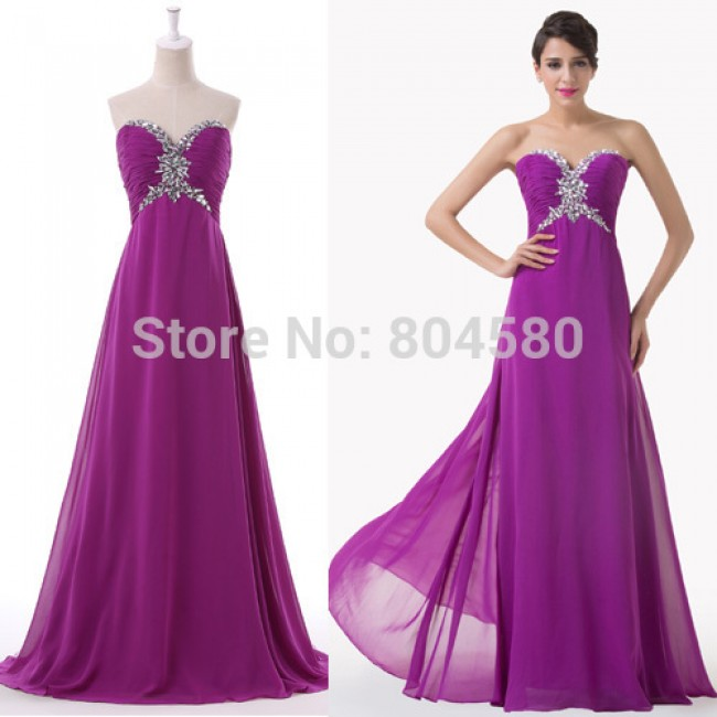 Build in Bra Strapless Empire Waist Prom dress Women Purple Formal Gowns Chiffon Long Bridesmaid dresses for Party CL6188