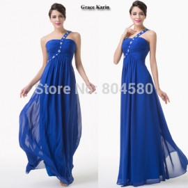 Charming Stock Grace Karin A Line Chiffon Party dress Long Homecoming dresses Blue Prom Gown Formal Women Ball Graduation CL6209
