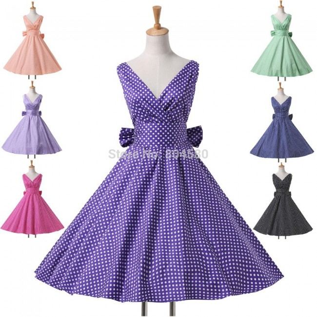 Elegant 50s 60s Polka Dots Winter Cotton Women Vintage Retro Prom Party Evening Formal Gown Mid Calf Pinup Wiggle Dress CL6295