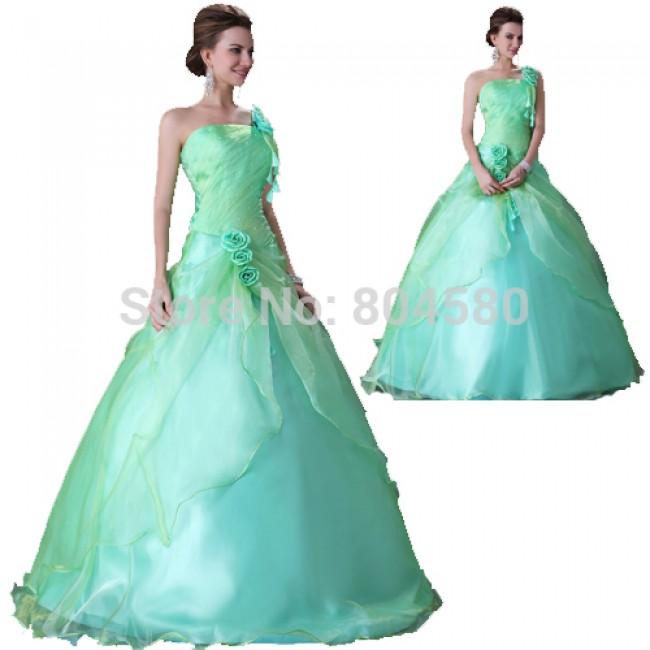 Elegant Design Rose Decoration One Shoulder Ball Gown Wedding Dress  Bridal dresses Lace Up Back CL2678