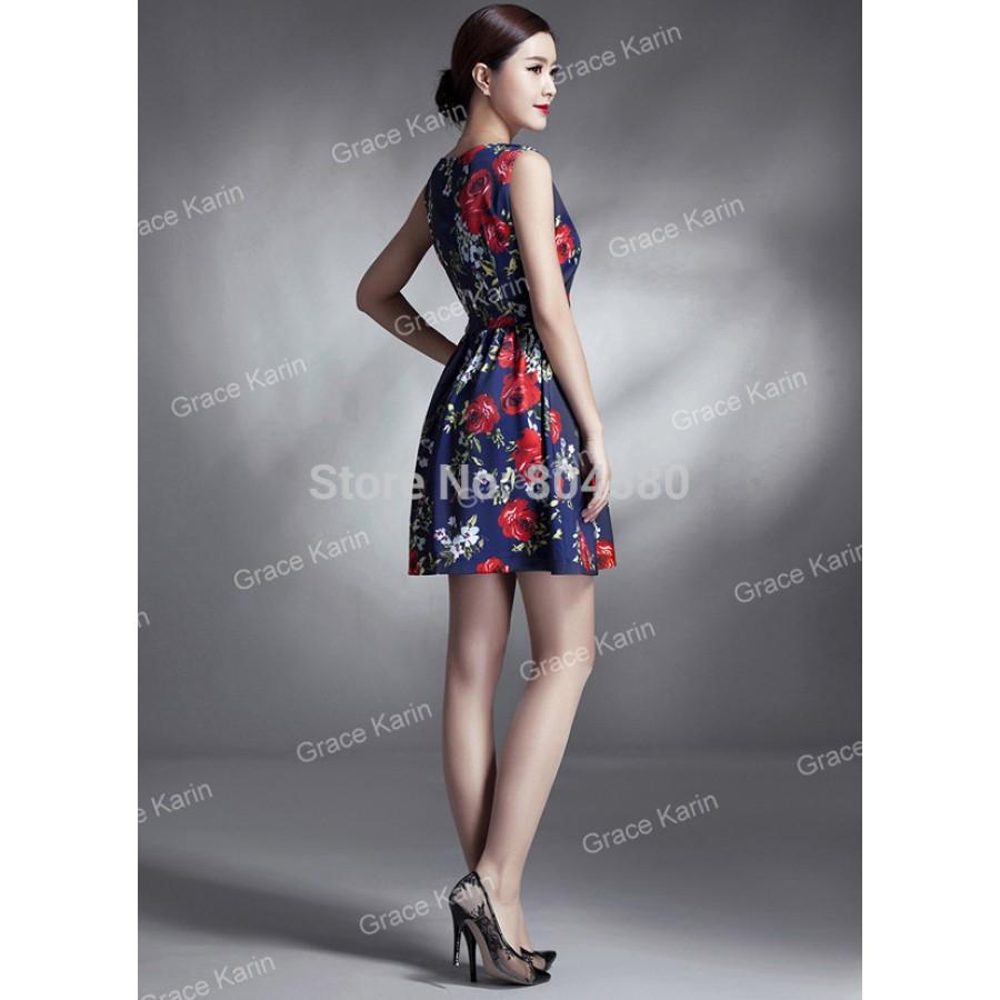 Elegant Women Summer Casual Plus Size 50s 60s Short Vintage ...