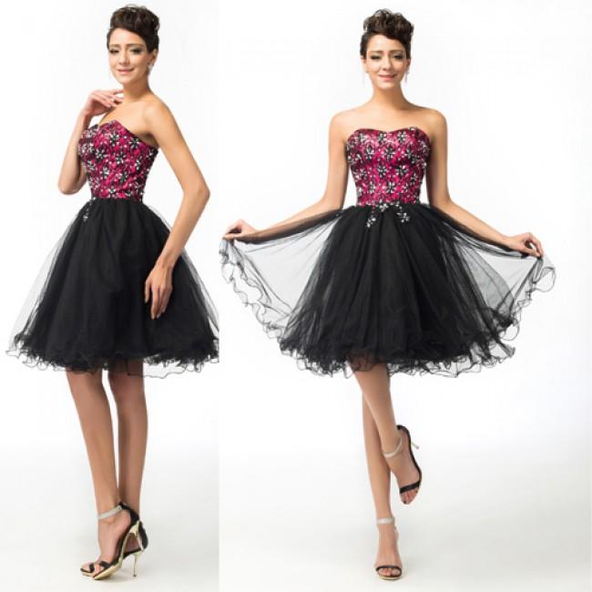 Elegant Strapless Corset Black Cocktail Dress Plus Size Homecoming Dresses Graduation Party Pageant Ball Gown Appliques 07578