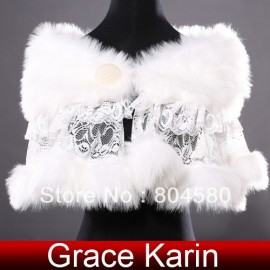 Fashion Design Ivory Faux fur + Lace bridal wedding evening shoulder capes wraps bolero shawls Women CL4937