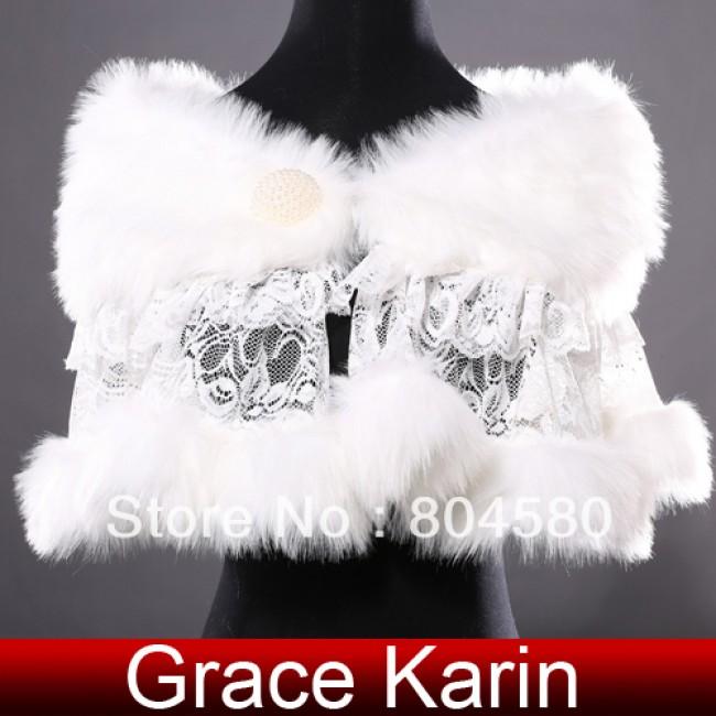 Fashion Design Ivory Faux fur + Lace bridal wedding evening shoulder capes wraps bolero shawls Women CL4937