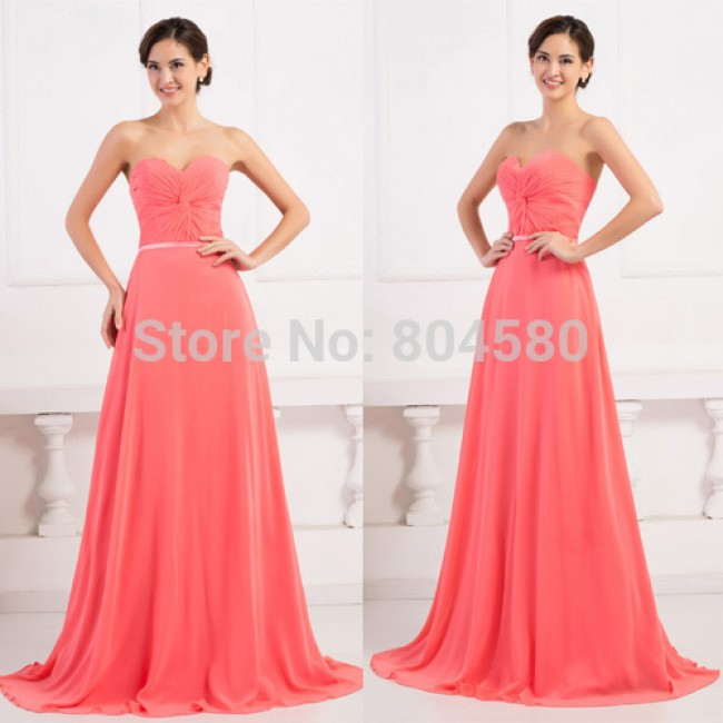 Fashion Design Strapless Sweetheart Chiffon Prom party Gown Long Bridesmaid dresses  Women Bride Maid dress Brand  CL6298
