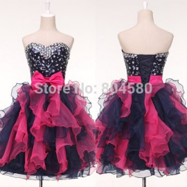 Fashion Stock Sleeveless Organza Knee length colorful Short Prom dresses Women Cocktail Party Gown Homecoming dress CL4976