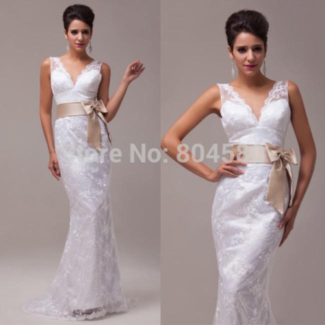 Design Deep V-neck Sexy Stock Floor Length Lace + Satin Bridal Wedding Dress  CL3850-1#