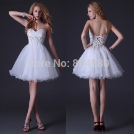 Grace Karin Sexy Stock Strapless Organza Women Prom Party Gown White Short Cocktail dress  CL3820