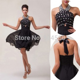 Knee Length Halter Chiffon Ball Cocktail Party Gown Formal dresses Short CL6018