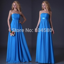Stock Strapless Floor Length Celebrity Red Carpet dresses Chiffon Evening dress Long prom party Gown CL3458 (AL12)