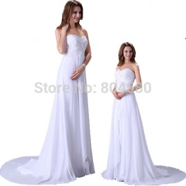 Free Shipping Elegant Design Floor Length White Chiffon Wedding dress 2015 Women Bridal Gown Formal Party dresses 2526