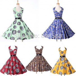 Summer Winter Casual Print dresses Women Party Clothing Retro Vintage Swing Gown 50s 60s Prom Party Ball Dress 6292
