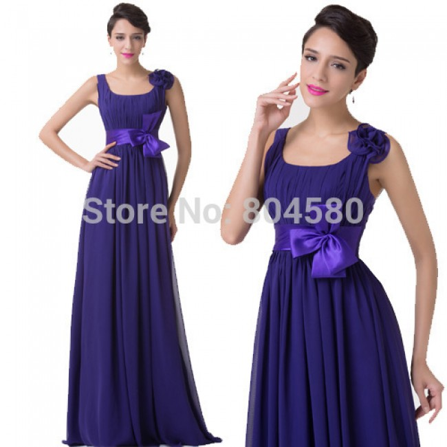 Gorgeous Design Floor Length Backless Women Party Gown U-neck Sleeveless Purple Formal dress Long Bridesmaid Dresses  CL6226