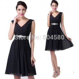 Grace Karin Knee Length   Sexy Women Sleeveless Little Black Dress Prom Ball Cocktail Party Dresses Formal Gown CL6204