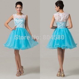 Grace Karin Knee length Lace & Tulle blue elegant party maxi evening dress short prom dresses  Homecoming gowns CL6123