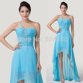 Grace Karin One Shoulder Chiffon Prom Gown Crystal Short Front Long Back Blue Cocktail dresses  Fashion Party Dress CL6198