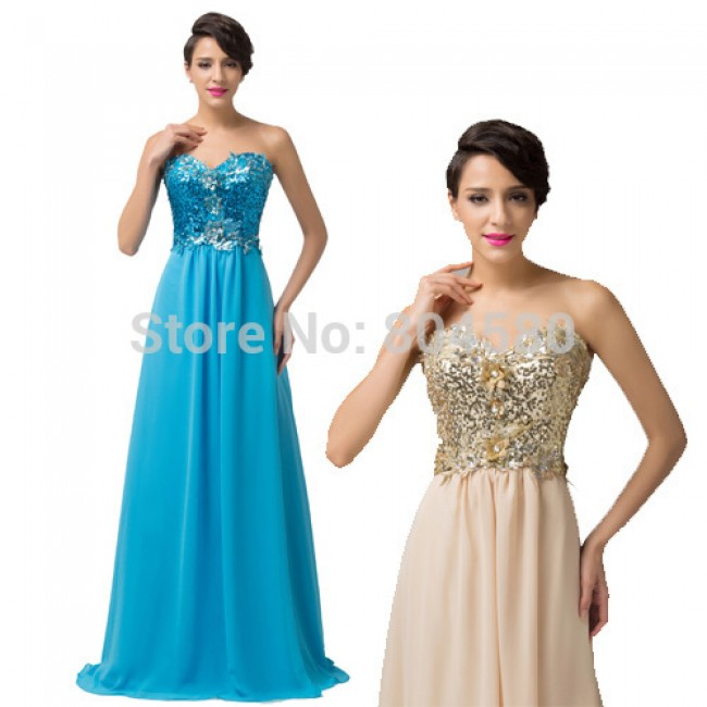 Grace Karin Stock A-Line Sweetheart Floor-Length Sequins Cheap Blue Bridesmaid dresses  Slim Long Wedding Party Gown CL6146