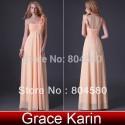 Grace Karin Stock Asymmetrical Orange Floor Length Women Flower Dresses Chiffon Evening Dress Long Prom Gown Ball CL3460