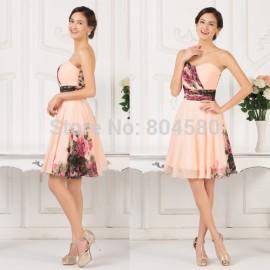 Grace Karin Strapless Knee Length Winter Slim Flower Print Dress Fashion Women Vintage Cocktail dresses Short Party Gown CL7501
