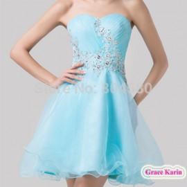 Grace Karin Sweetheart Knee Length beads Cocktail party dresses Sexy Women Blue Short Homecoming Gown Dance dress CL6178
