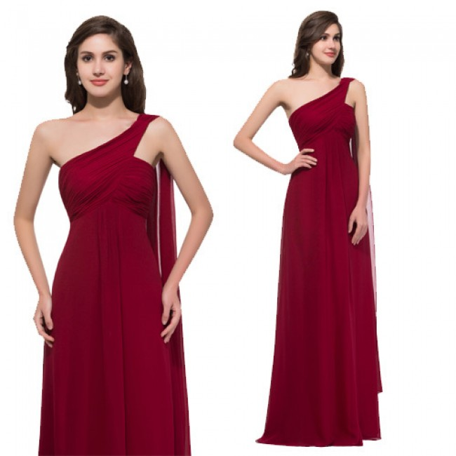 Grace Karin Floor Length Chiffon Ruffles Bridesmaid dresses 2015 One Shoulder Long Party Dress for Wedding Wine Red Women CL8909