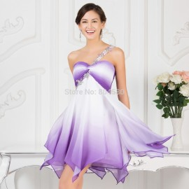 Grace Karin Knee Length Purple Ombre Chiffon Special Occasion Dress Short Cocktail Dresses 2015 Formal Party Gown Big Size 7540
