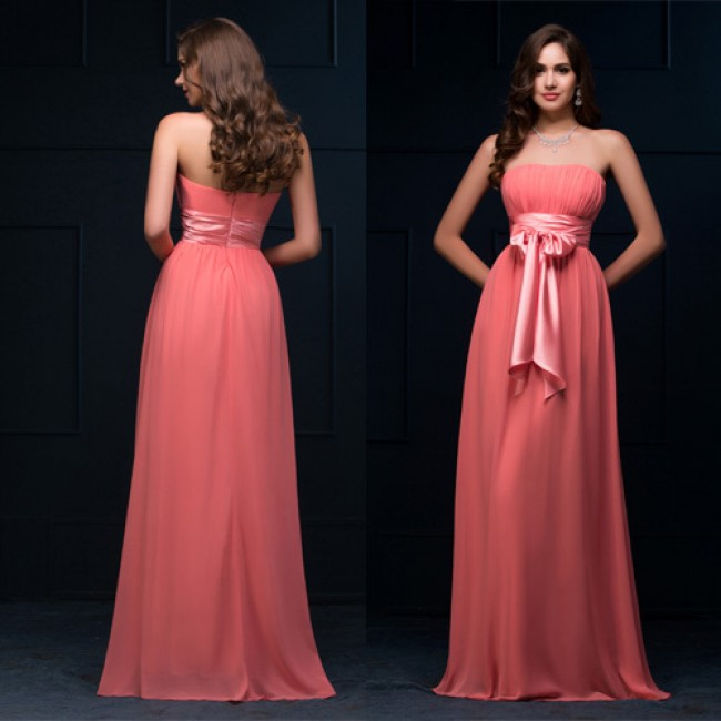 Grace Karin Plus Size Strapless A line Bridesmaid dresses Floor Length Coral Chiffon Wedding Party Dress Custom Made CL8910