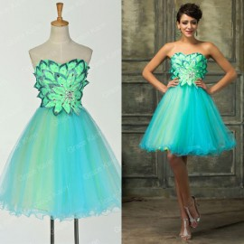 Grace Karin Special Occasion Dress Vestidos Cocktail dresses Party Prom Ball Gown Knee Length Green Flower Appliques 2015 D7579
