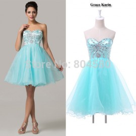High Quality Grace Karin Sexy Women Blue Strapless Prom Ball Gown dress for Homecoming Short Cocktail party dresses  CL6161