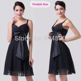 High Quality Sexy Spaghetti Strap Knee Length Black Chiffon Homecoming dresses Sleeveless Cocktail dress short party Gown CL6180