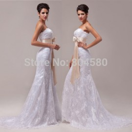 Hot Sale 8 sizes Strapless Lace Appliques White Mermaid Wedding dresses  Bow Waistband Long Bridal Gown Prom dress CL6029