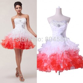 Hot Selling Organza Sleeveless Knee Length homecoming Ball Party Gown Short Evening Dress Formal Prom dresses CL4977