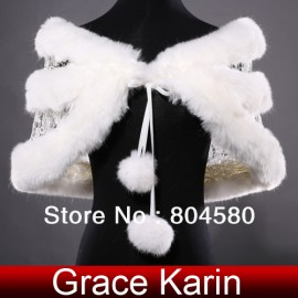 Hot! Free Shipping Retail/Wholesale New Ivory Faux Fur Wedding Bridal Bride Wrap Shawl Cape Tippet  CL4939